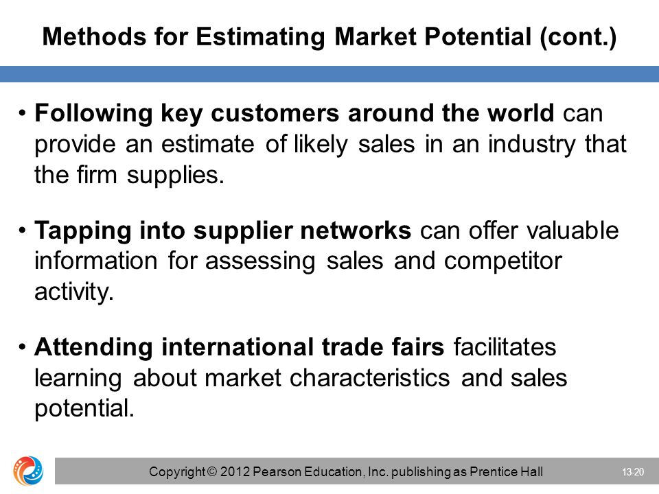 Methods for Estimating Market Potential (cont.) Following key customers around the world can provide an estimate of likely sales in an industry that the firm supplies.