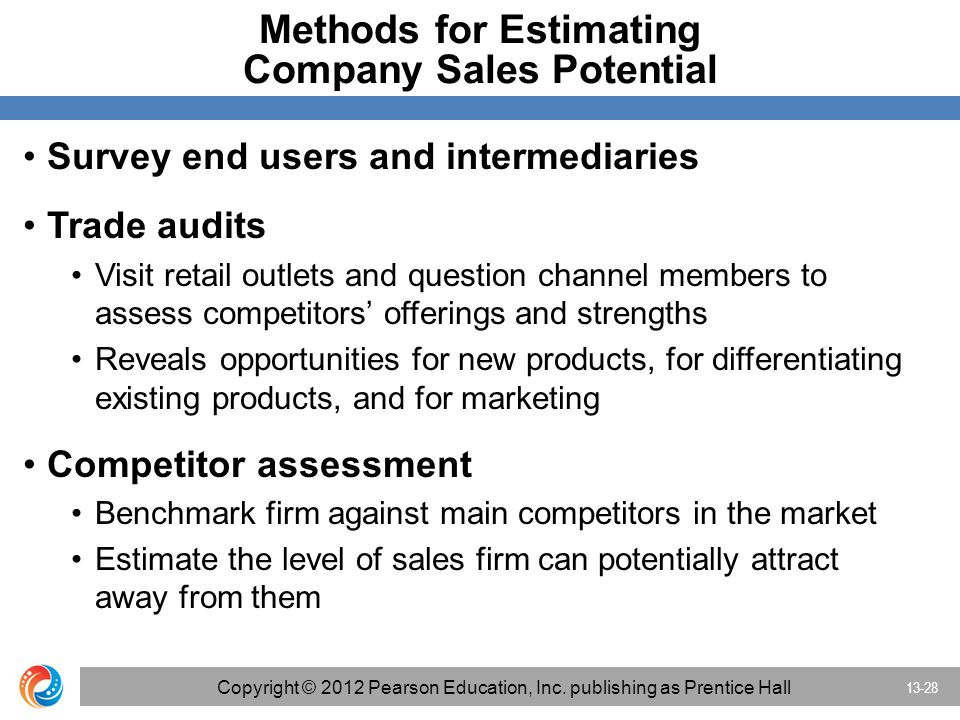 Methods for Estimating Company Sales Potential Survey end users and intermediaries Trade audits Visit retail outlets and question channel members to assess competitors' offerings and strengths Reveals opportunities for new products, for differentiating existing products, and for marketing Competitor assessment Benchmark firm against main competitors in the market Estimate the level of sales firm can potentially attract away from them 13-28 Copyright © 2012 Pearson Education, Inc.