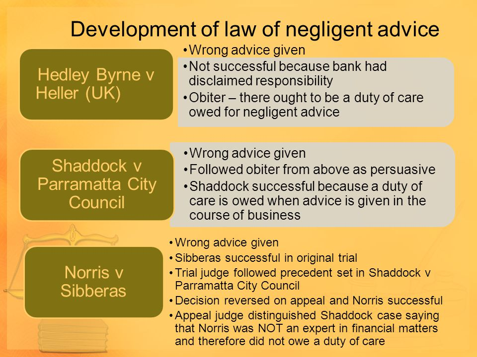 Development of law of negligent advice Wrong advice given Not successful because bank had disclaimed responsibility Obiter – there ought to be a duty
