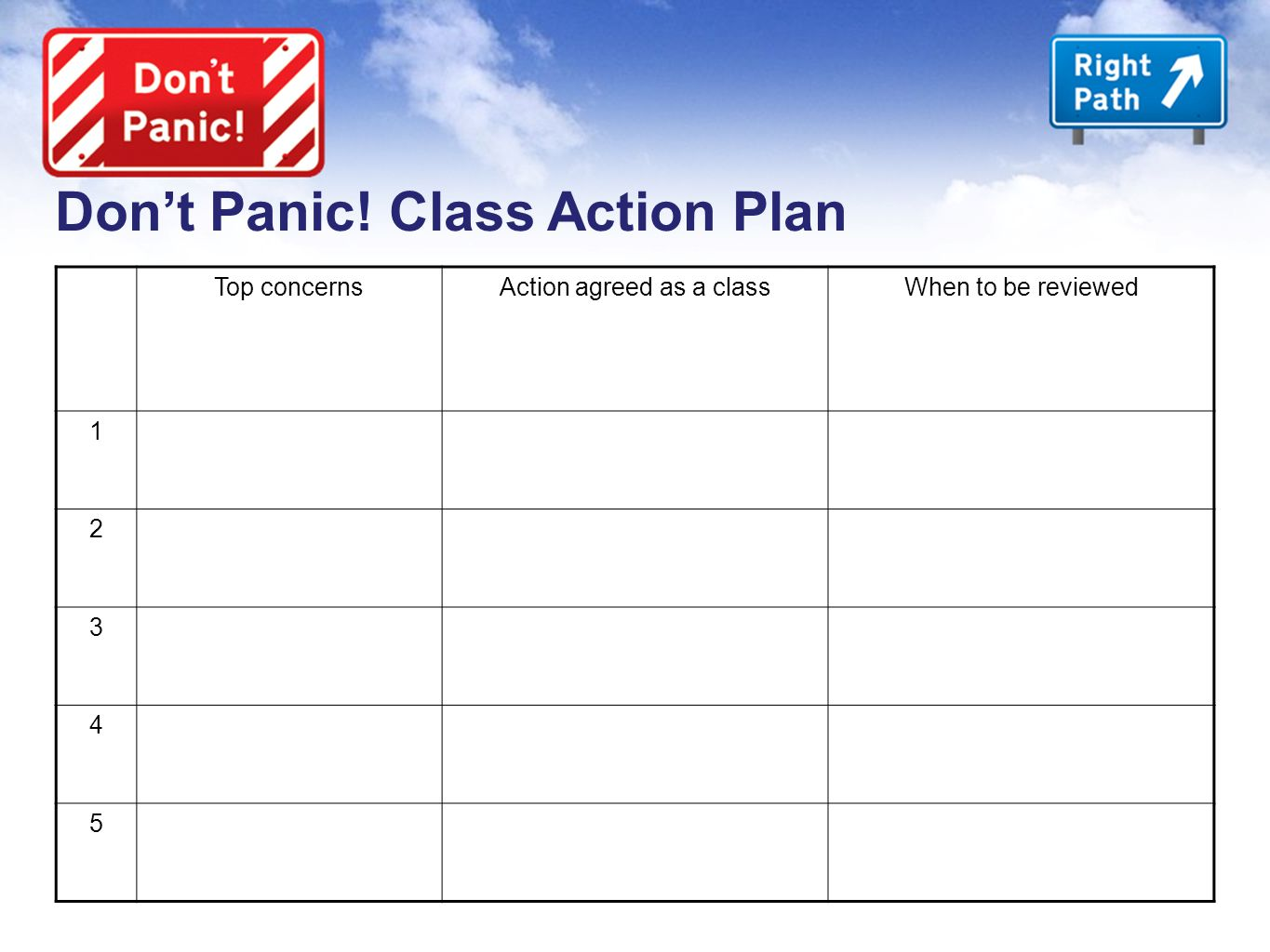 Don't Panic! Class Action Plan Top concernsAction agreed as a classWhen to be reviewed 1 2 3 4 5