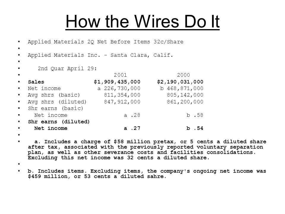 How the Wires Do It Applied Materials 2Q Net Before Items 32c/Share Applied Materials Inc.