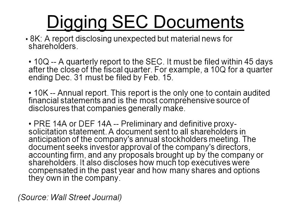 Digging SEC Documents 8K: A report disclosing unexpected but material news for shareholders.