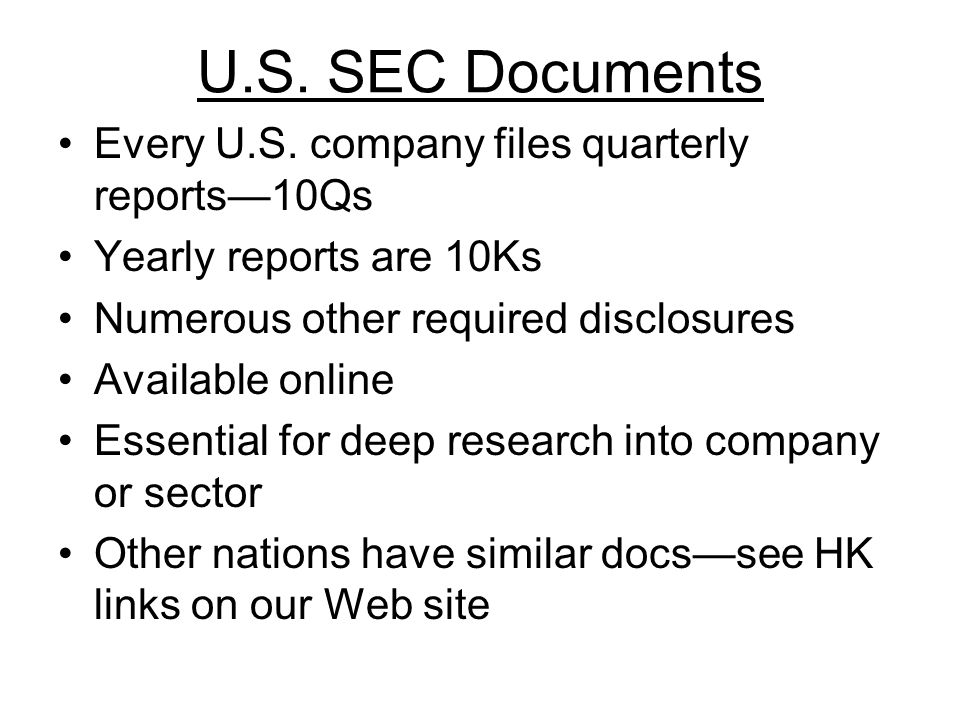 U.S. SEC Documents Every U.S.
