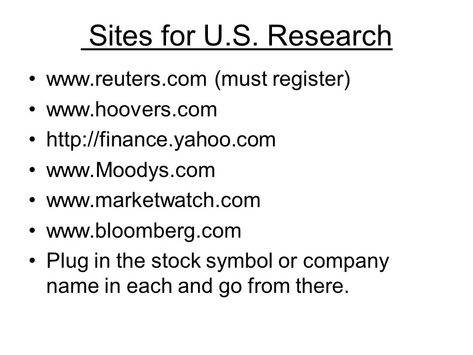 Sites for U.S.
