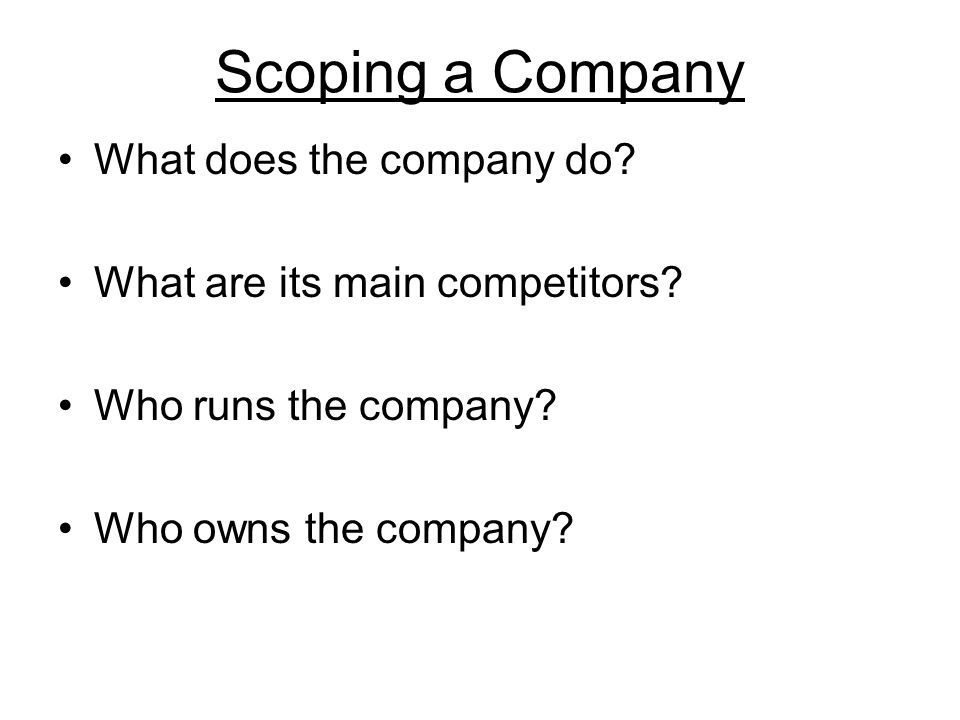 Scoping a Company What does the company do. What are its main competitors.