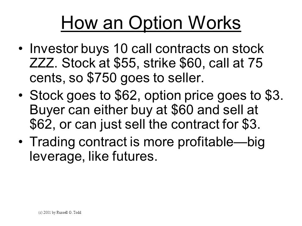 How an Option Works Investor buys 10 call contracts on stock ZZZ.