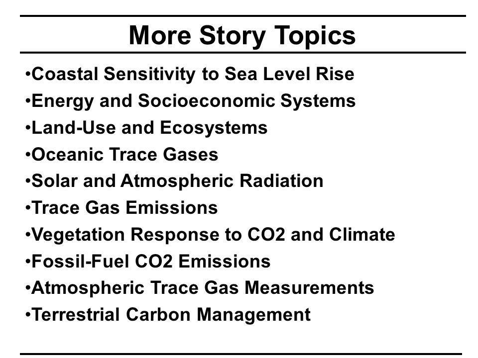 More Story Topics Coastal Sensitivity to Sea Level Rise Energy and Socioeconomic Systems Land-Use and Ecosystems Oceanic Trace Gases Solar and Atmospheric Radiation Trace Gas Emissions Vegetation Response to CO2 and Climate Fossil-Fuel CO2 Emissions Atmospheric Trace Gas Measurements Terrestrial Carbon Management