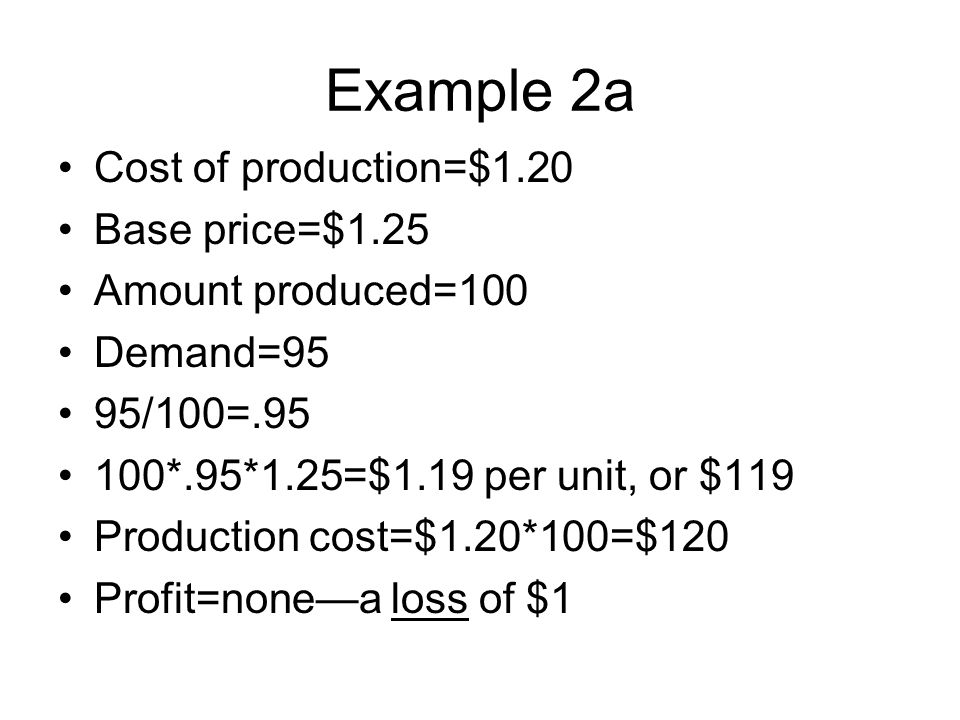 Example 2a Cost of production=$1.20 Base price=$1.25 Amount produced=100 Demand=95 95/100=.95 100*.95*1.25=$1.19 per unit, or $119 Production cost=$1.20*100=$120 Profit=none—a loss of $1