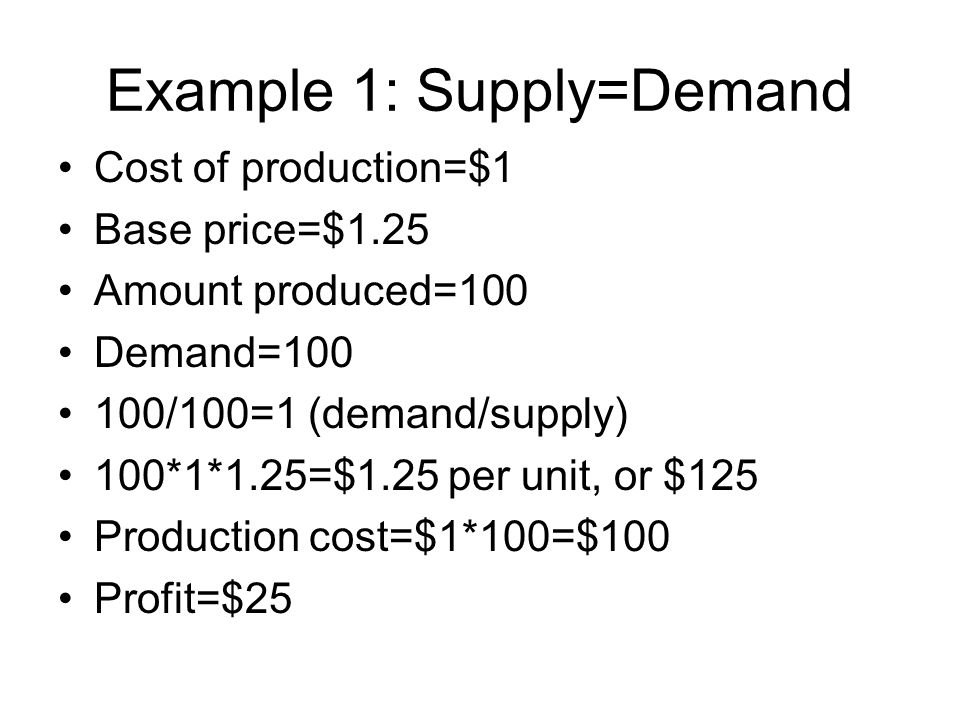 Example 1: Supply=Demand Cost of production=$1 Base price=$1.25 Amount produced=100 Demand=100 100/100=1 (demand/supply) 100*1*1.25=$1.25 per unit, or