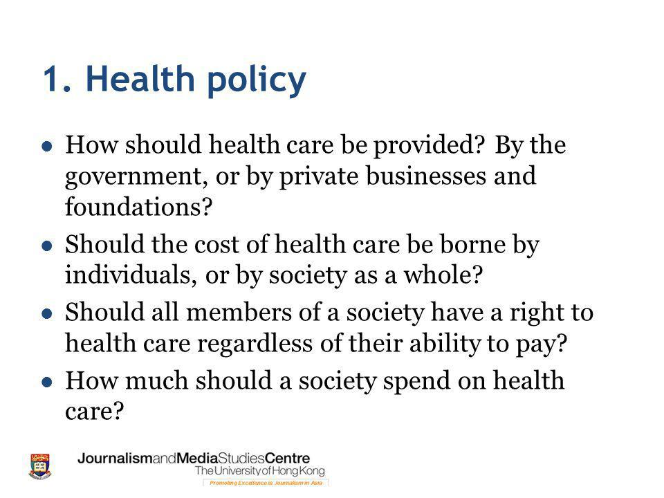 1. Health policy How should health care be provided.