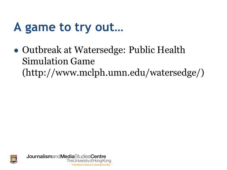 A game to try out… Outbreak at Watersedge: Public Health Simulation Game (http://www.mclph.umn.edu/watersedge/)