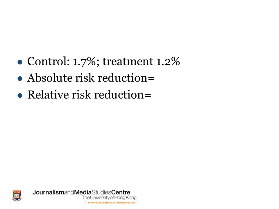 Control: 1.7%; treatment 1.2% Absolute risk reduction= Relative risk reduction=