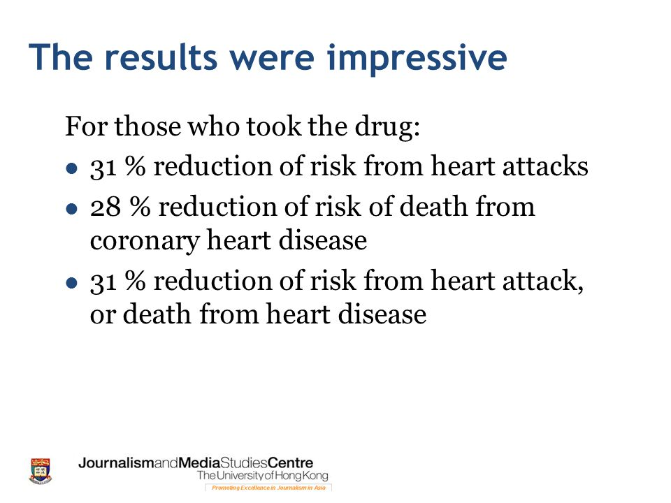 The results were impressive For those who took the drug: 31 % reduction of risk from heart attacks 28 % reduction of risk of death from coronary heart disease 31 % reduction of risk from heart attack, or death from heart disease