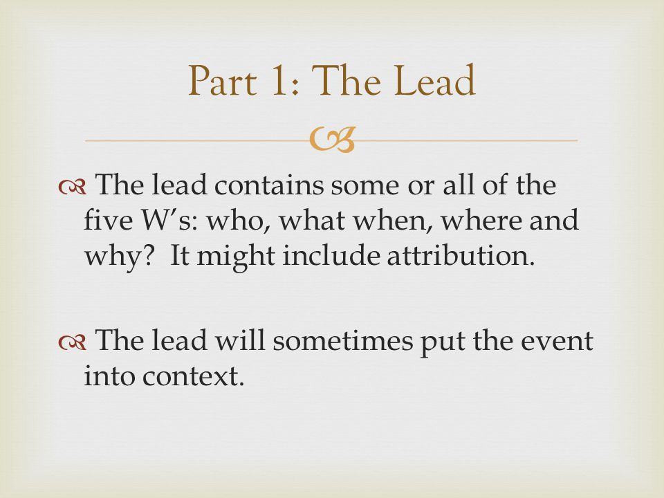  Part 2: Expanding the Lead 2.