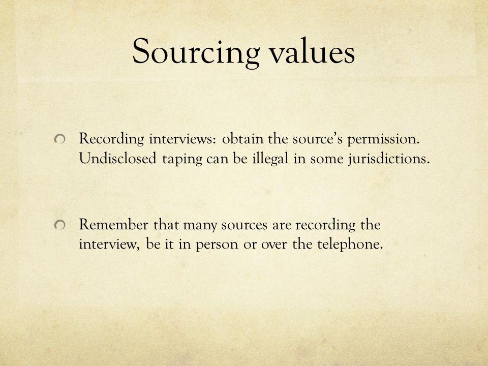 Recording interviews: obtain the source's permission.