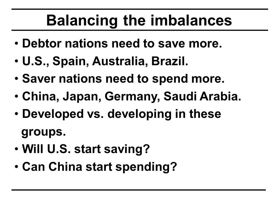 Balancing the imbalances Debtor nations need to save more.
