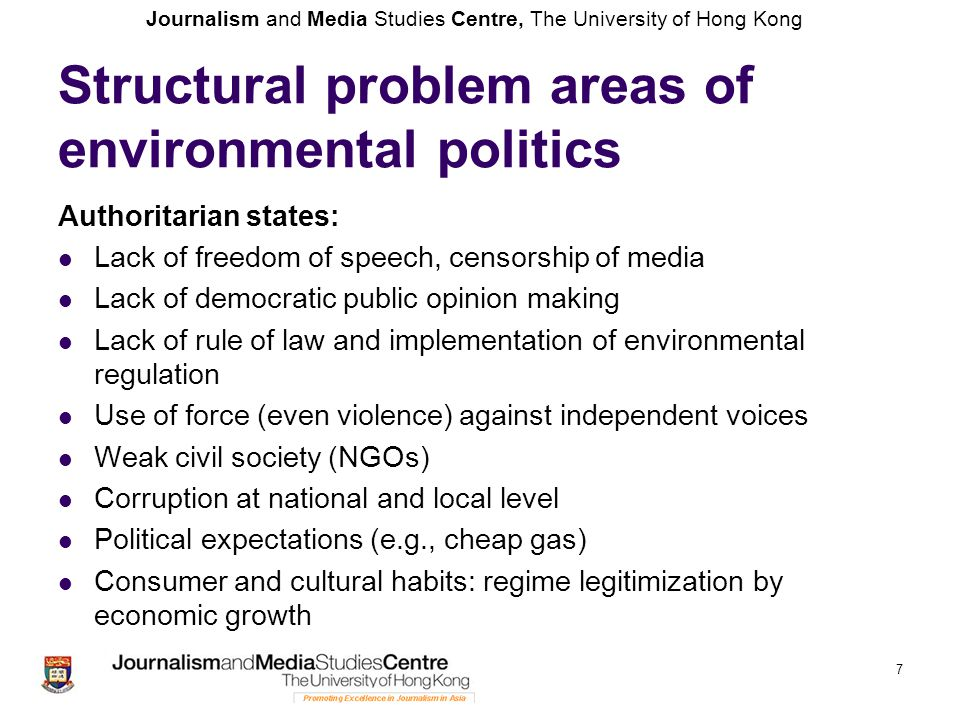 Journalism and Media Studies Centre, The University of Hong Kong Forces of renewal Online media, avoiding state censorship Changing public opinion and consumer habits NGOS: support of international NGOs and civil society Support of international medial Environmental authoritarianism Progressive environmental policy-making Implementation of environmental legislation Rule of law (especially in the environmental area) 8