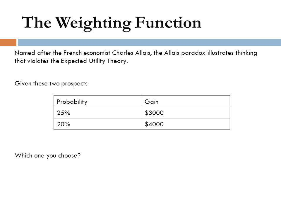 The Weighting Function Named after the French economist Charles Allais, the Allais paradox illustrates thinking that violates the Expected Utility The