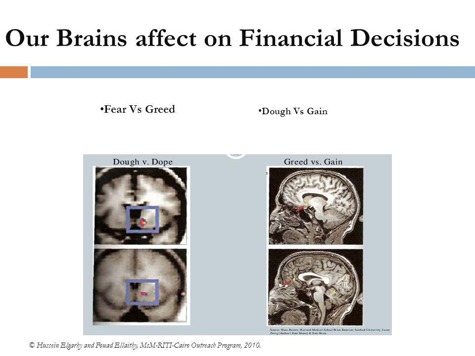 Our Brains affect on Financial Decisions © Hussein Elgarhy and Fouad Ellaithy, MsM-RITI-Cairo Outreach Program, 2010. Fear Vs Greed Dough Vs Gain