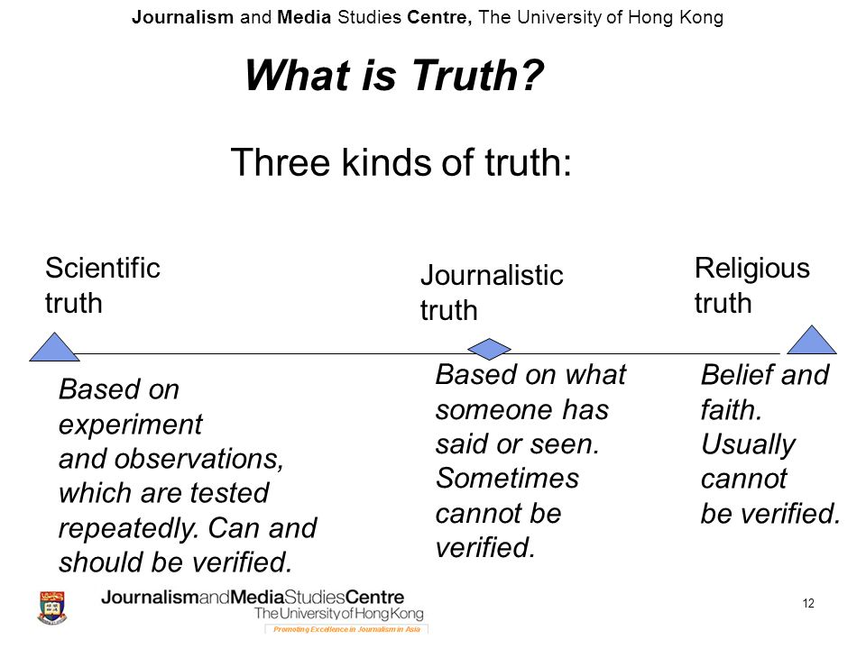 Journalism and Media Studies Centre, The University of Hong Kong 12 Based on experiment and observations, which are tested repeatedly. Can and should