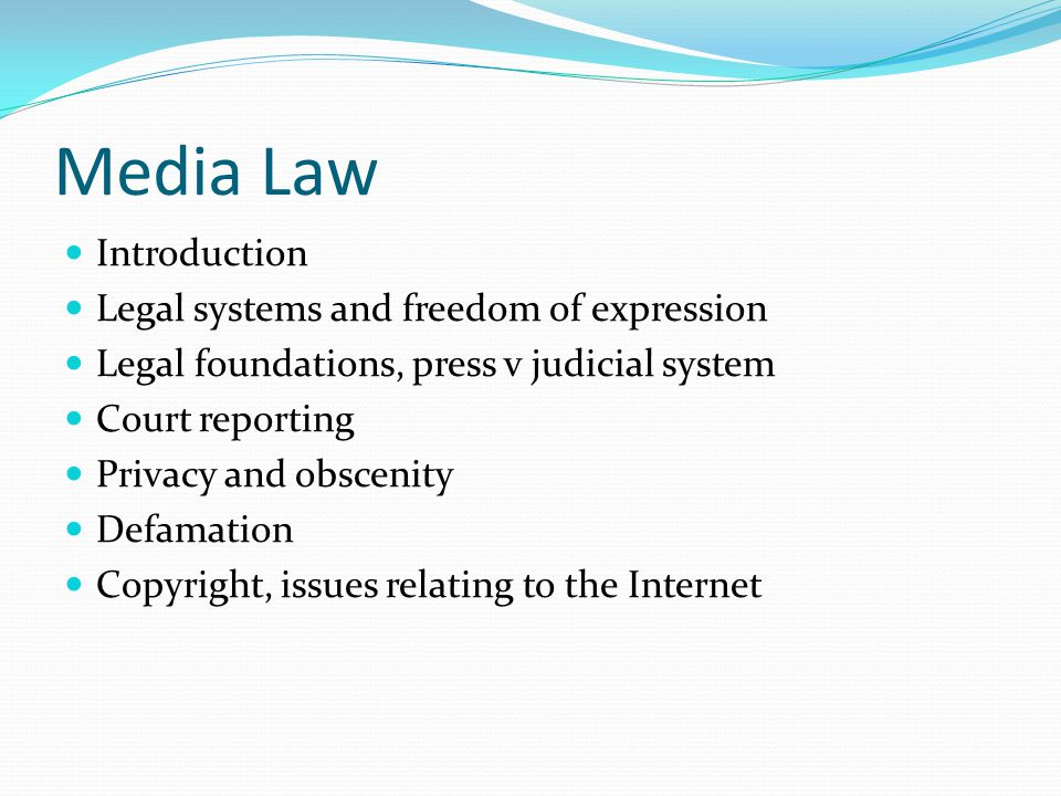 Media Law Introduction Legal systems and freedom of expression Legal foundations, press v judicial system Court reporting Privacy and obscenity Defamation Copyright, issues relating to the Internet
