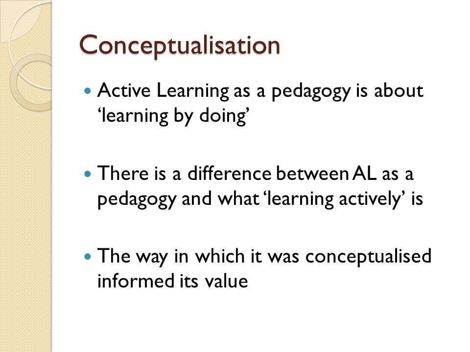Value How respondents valued 'doing' related to their engagement with the pedagogy These values were positive, negative, ambivalent or 'open' These were related to their own experiences of learning, teaching, the pedagogy, and personal preferences