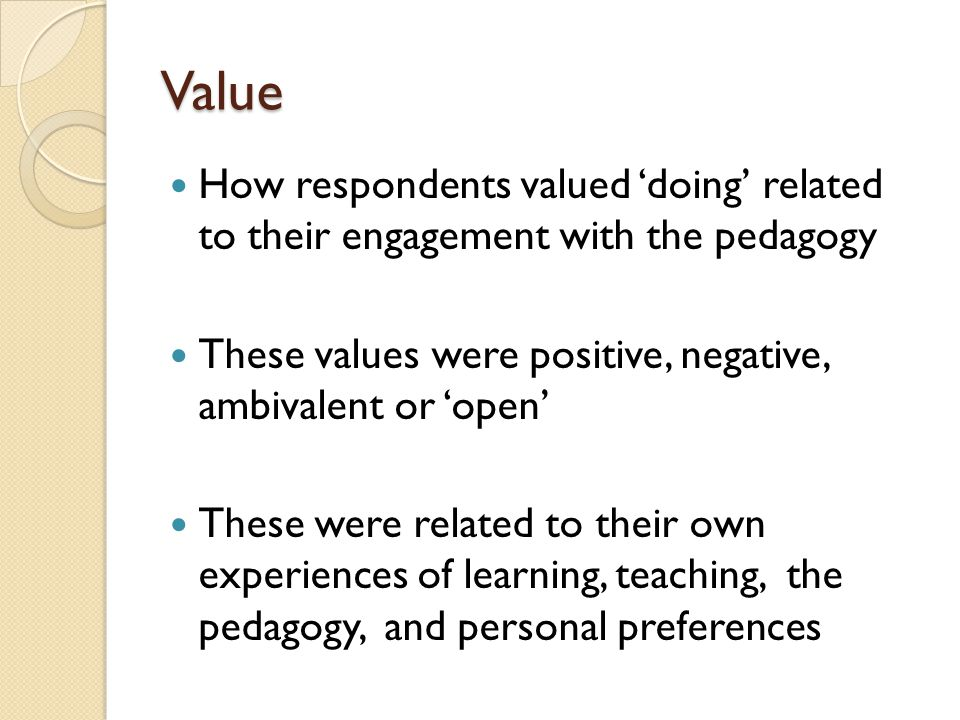 Academic Freedom Use of 'two definitions' (the respondent's and the 'University's') Threat to teaching quality (also related to value of 'learning by doing') Perception of loss of academic freedom and recognition of their expertise through 'direction' Neutral perspective through respondents already feeling 'comfortable' in their own practice