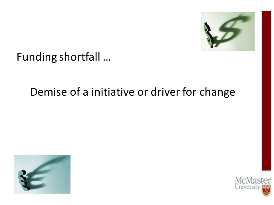 Funding shortfall … Demise of a initiative or driver for change