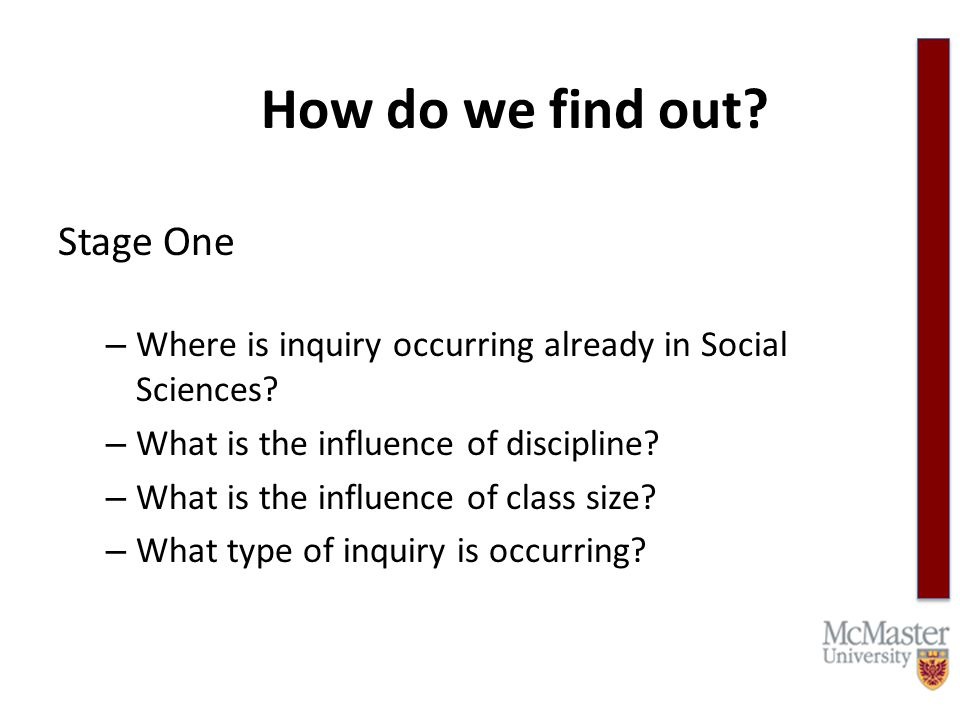 How do we find out. Stage One – Where is inquiry occurring already in Social Sciences.