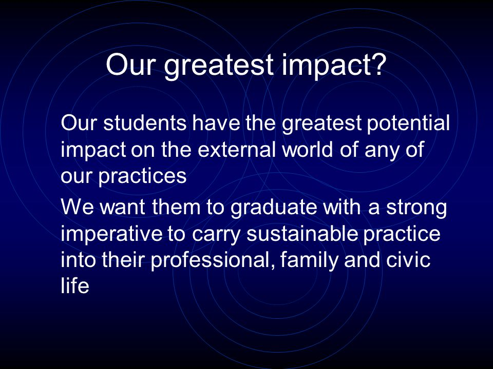 Our greatest impact.