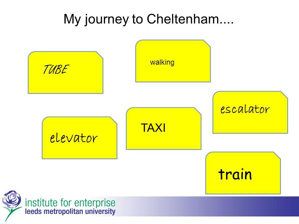 My journey to Cheltenham.... walking elevator train TAXI TUBE escalator