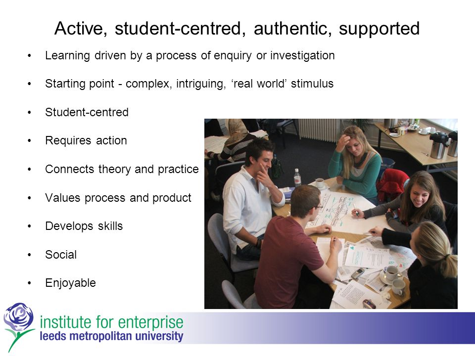 Active, student-centred, authentic, supported Learning driven by a process of enquiry or investigation Starting point - complex, intriguing, 'real wor