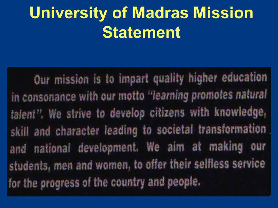 University of Madras Mission Statement