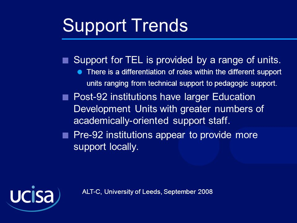 ALT-C, University of Leeds, September 2008 Support Trends Support for TEL is provided by a range of units.