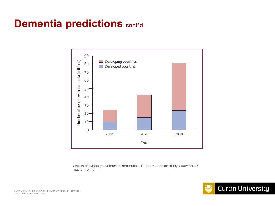 Curtin University is a trademark of Curtin University of Technology CRICOS Provider Code 00301J Dementia predictions cont'd Ferri et al.