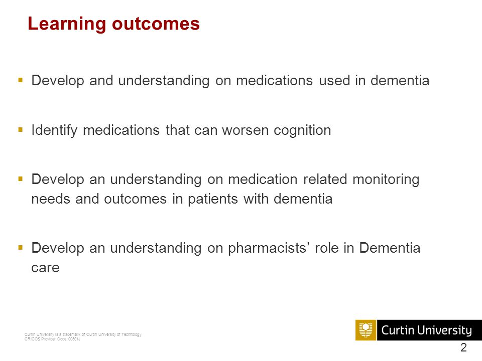 Curtin University is a trademark of Curtin University of Technology CRICOS Provider Code 00301J What is dementia.