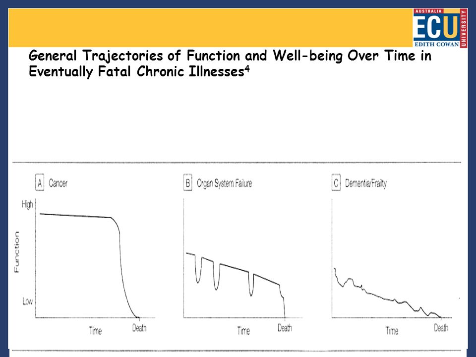 General Trajectories of Function and Well-being Over Time in Eventually Fatal Chronic Illnesses 4 [Help with image viewing]