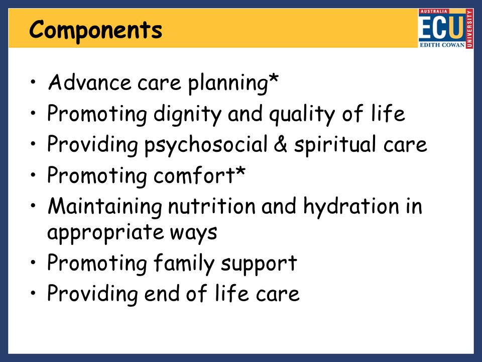 Components Advance care planning* Promoting dignity and quality of life Providing psychosocial & spiritual care Promoting comfort* Maintaining nutriti