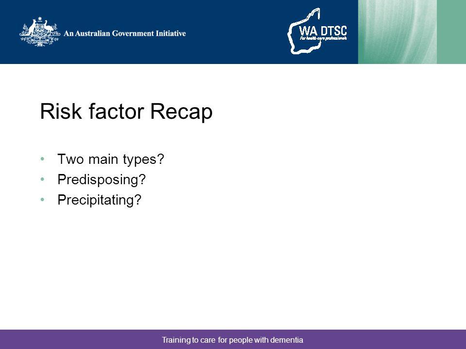 Risk factor Recap Two main types. Predisposing. Precipitating.