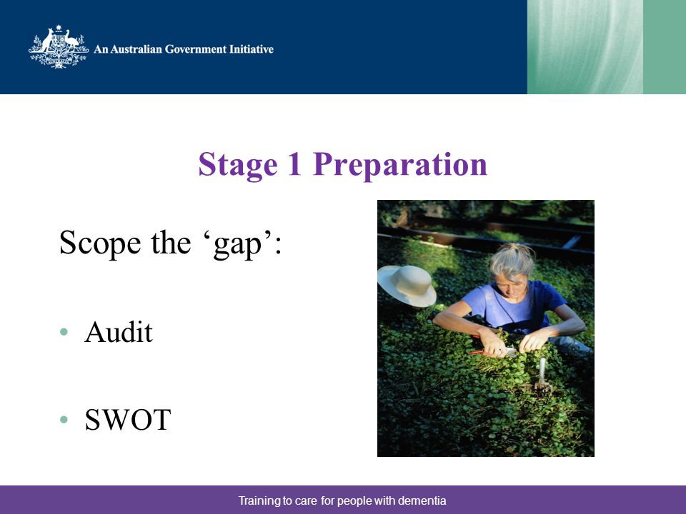 Stage 1 Preparation Scope the 'gap': Audit SWOT Training to care for people with dementia