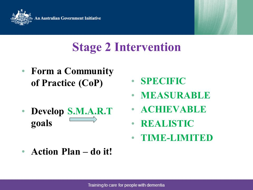 Stage 2 Intervention Form a Community of Practice (CoP) Develop S.M.A.R.T goals Action Plan – do it.