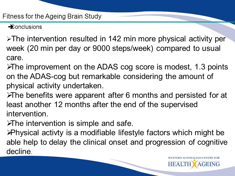  The intervention resulted in 142 min more physical activity per week (20 min per day or 9000 steps/week) compared to usual care.  The improvement o