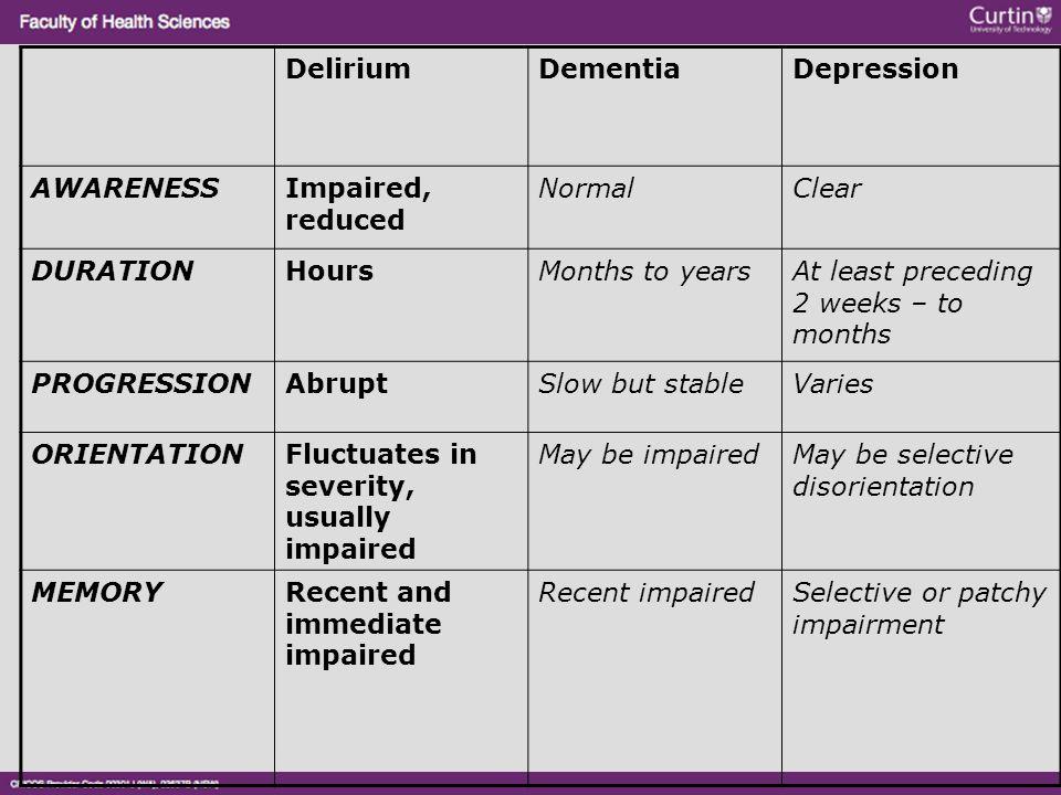 DeliriumDementiaDepression AWARENESSImpaired, reduced NormalClear DURATIONHoursMonths to yearsAt least preceding 2 weeks – to months PROGRESSIONAbrupt