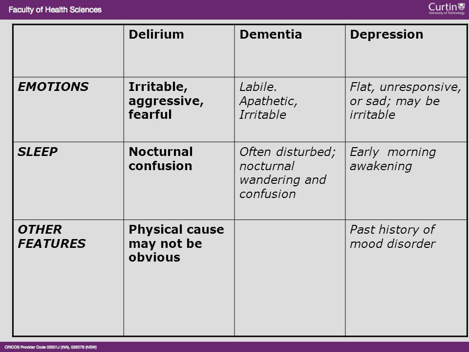 DeliriumDementiaDepression EMOTIONSIrritable, aggressive, fearful Labile. Apathetic, Irritable Flat, unresponsive, or sad; may be irritable SLEEPNoctu