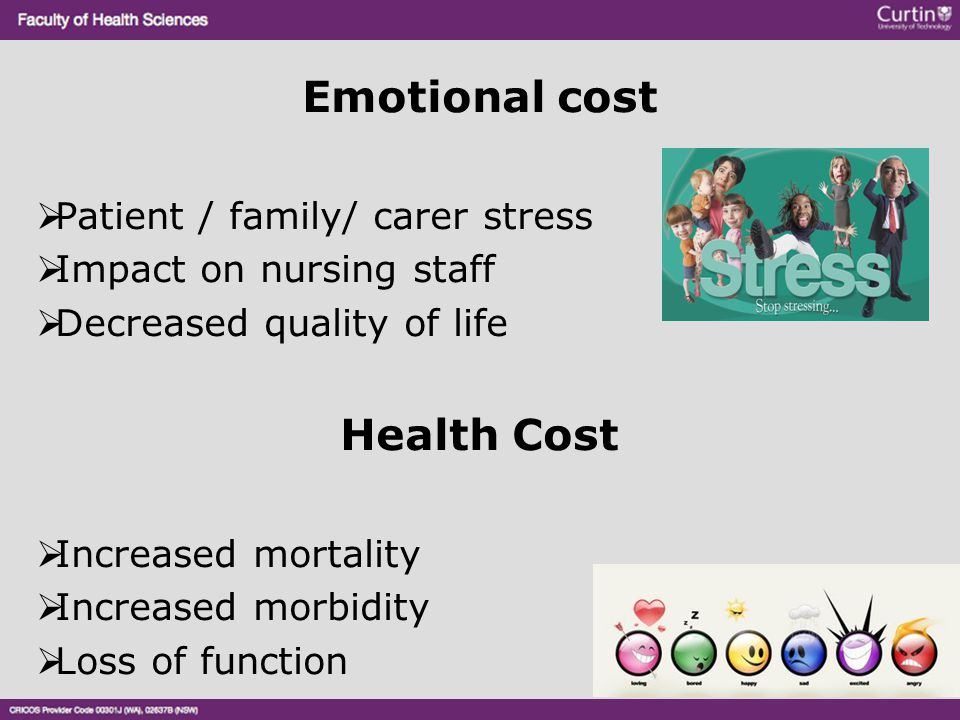 Emotional cost  Patient / family/ carer stress  Impact on nursing staff  Decreased quality of life Health Cost  Increased mortality  Increased mo