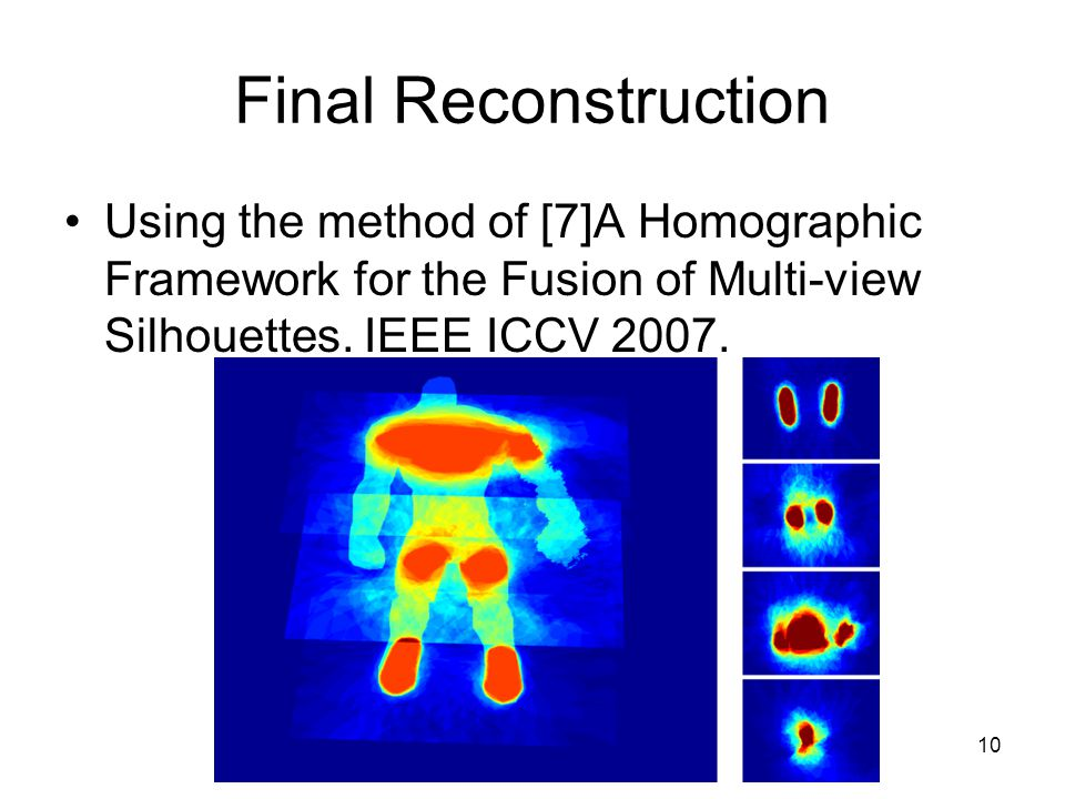 10 Final Reconstruction Using the method of [7]A Homographic Framework for the Fusion of Multi-view Silhouettes. IEEE ICCV 2007.