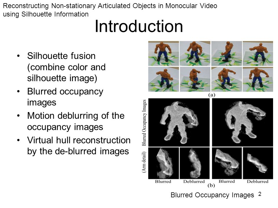 2 Introduction Silhouette fusion (combine color and silhouette image) Blurred occupancy images Motion deblurring of the occupancy images Virtual hull reconstruction by the de-blurred images Blurred Occupancy Images Reconstructing Non-stationary Articulated Objects in Monocular Video using Silhouette Information