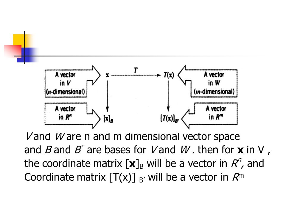 V and W are n and m dimensional vector space and B and B ' are bases for V and W. then for x in V, the coordinate matrix [x] B will be a vector in R n