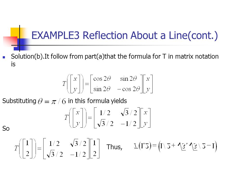 EXAMPLE3 Reflection About a Line(cont.) Solution(b).It follow from part(a)that the formula for T in matrix notation is Substituting in this formula yi
