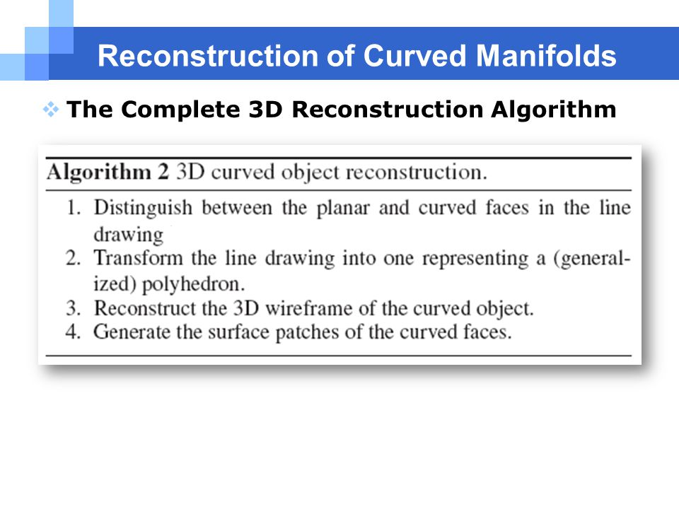 Reconstruction of Curved Manifolds  The Complete 3D Reconstruction Algorithm